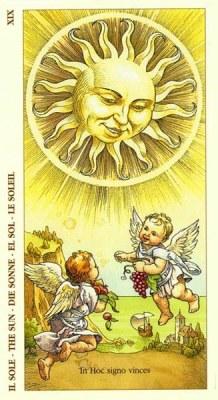 19 Аркан Солнце из колоды Таро Дюрера